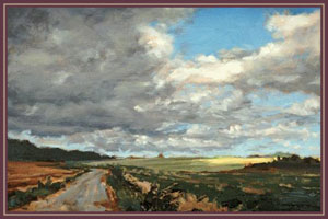 Image of a painting by Denise Dumont of blue skies filled with white puffy clouds in a couuntry setting. The painting is named Break.