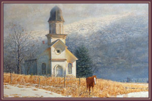 Picture of the painting Elk Mountain by artist Ed Challenger. This painting captures a landscape view one could encounter on a winter day in the country.