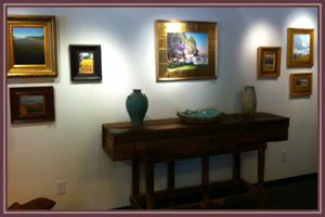 Nice photo of a gallery table inside of the gallery at Bishop's Stock in Snow Hill, Maryland.