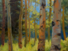 Painting of trees in a forest by Kirk McBride titled Summer Aspens.