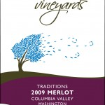 Wine label for Merlot red wine produced in Washington State by Milbrandt Vineyards