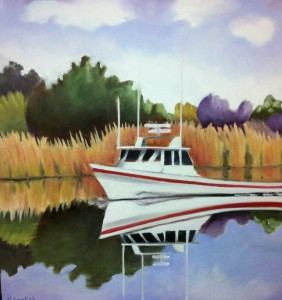 Oil painting of worksboat by Helene English