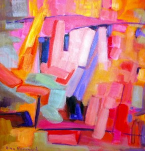 Abstract oil painting by Aina Nergaard-Nammacl