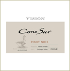 Label of 2010 Cono Sur Vineyards Vision Pinot Noir featured at Bishop's Stock