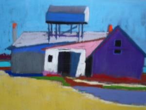 Pastel of boat landing by Diane Hurwitz-Specht