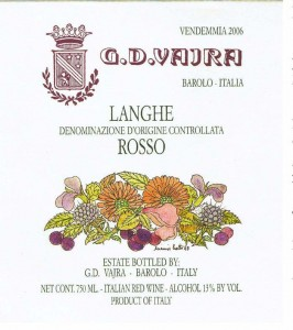 GD Vajara label for Rosso featured wine