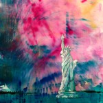 Lady Liberty with fireworks in painting by Patrice Drago