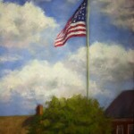 Pastel painting of American Flag by Desiree Holmes SCherini