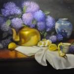 Painting of hydrangeas and brass pot by Barbara Beauchamp