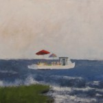 Oil painting of boat on bay by Fred Sprock