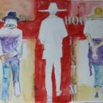 Watercolor of 3 women by Angela Herbert-Hodges
