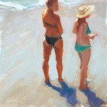 small painting of girls on the beach by Lynne Lockhart