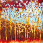 Acrylic landscape of tree line by Barbara Mowery