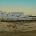 watercolor of old boat by C. Keith Whitelock